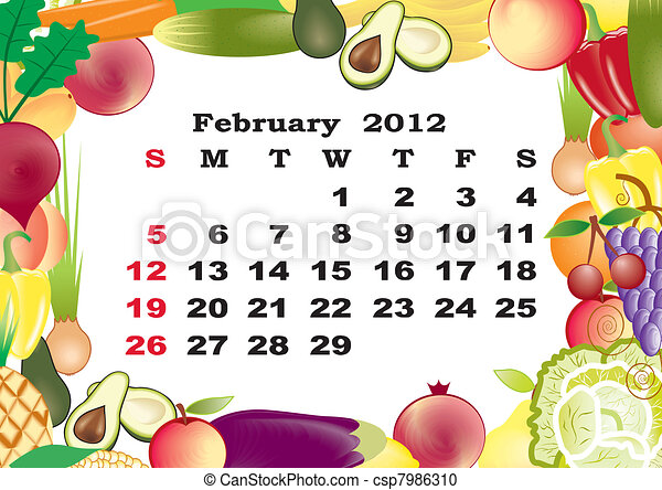 Vector - February - monthly calendar 2012 in colorful frame - stock ...