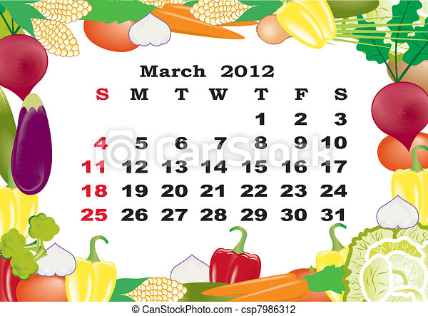 March- monthly calendar 2012 in colorful frame - csp7986312