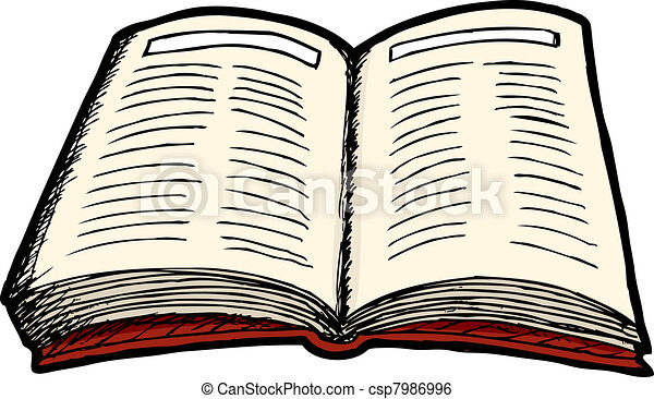 Books Line Drawing Open Book Csp7986996