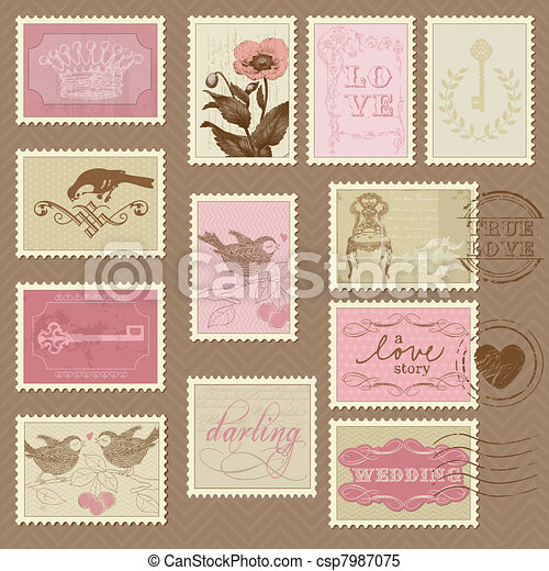 Retro Postage Stamps - for wedding design, invitation, congratulation, scrapbook - csp7987075