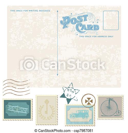 Retro Postcard and Postage Stamps - for wedding design, invitation, congratulation, scrapbook - csp7987081