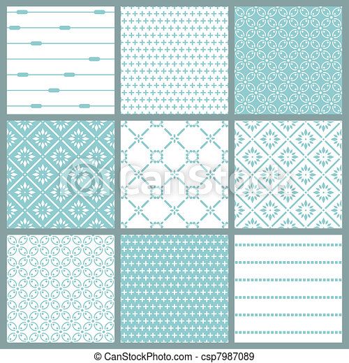 Seamless backgrounds Collection - Vintage Tile - csp7987089