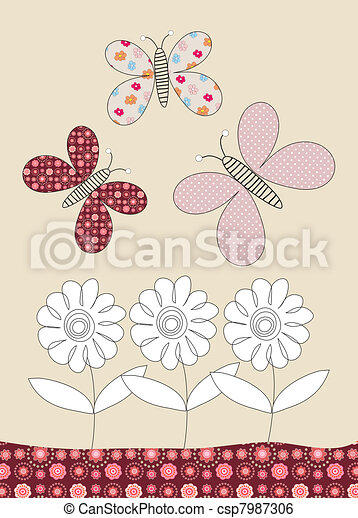 Pretty butterflies and flowers childrens illustration - csp7987306