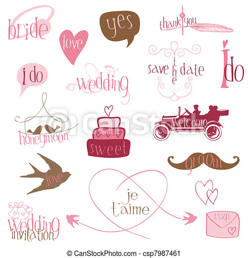 Romantic Wedding Design Elements -for invitation, scrapbook in vector - csp7987461