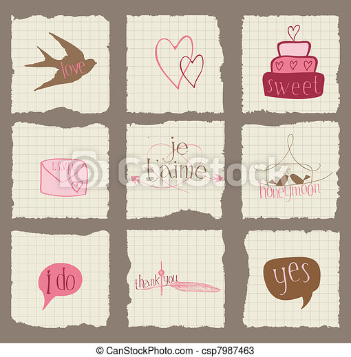 Paper Love and Wedding Design Elements -for invitation, scrapbook in vector - csp7987463