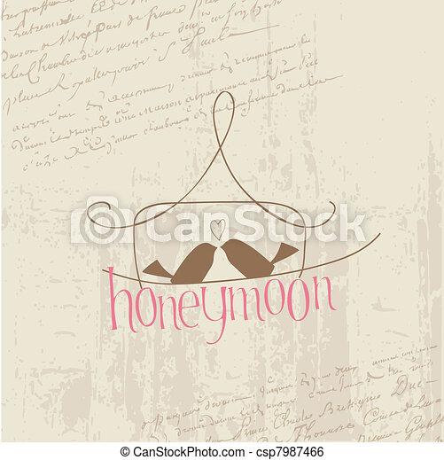 Vintage Love Postcard with Birds - for design, invitation, congratulation, scrapbook - csp7987466