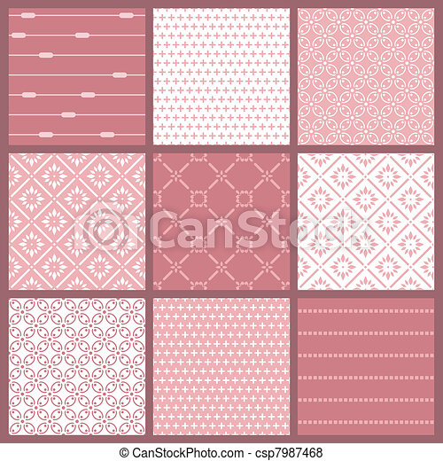 Seamless backgrounds Collection - Vintage Tile - csp7987468