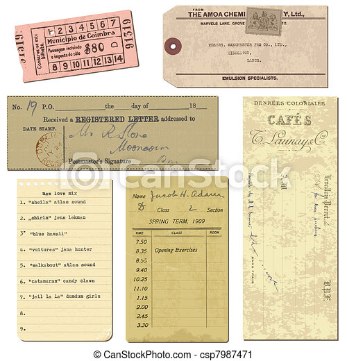 Old paper objects - vintage tickets, letters, notes - for design and scrapbook in vector - csp7987471
