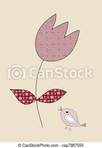 A cute, little bird and a tulip, illustration - csp7987555