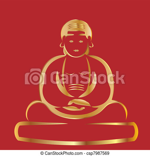 Buddha with red background - csp7987569