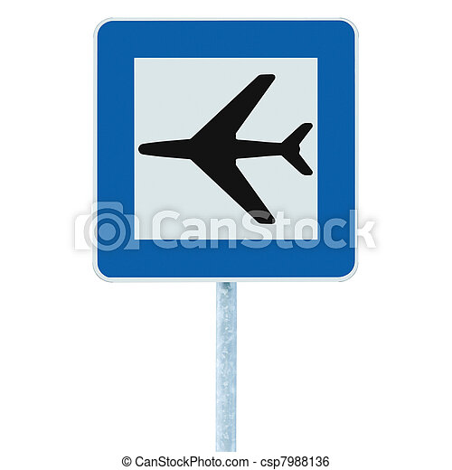 Airport sign blue isolated road traffic airplane icon signage - csp7988136