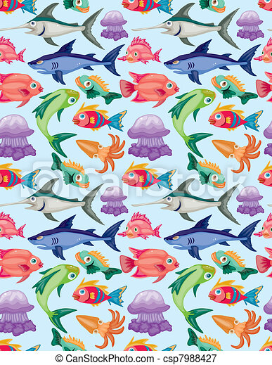 cartoon aquatic animal seamless pattern - csp7988427