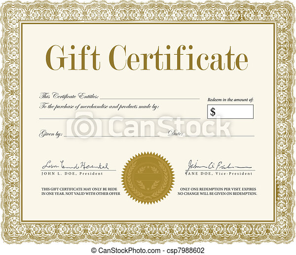 Vector Ornate Gift Certificate - csp7988602