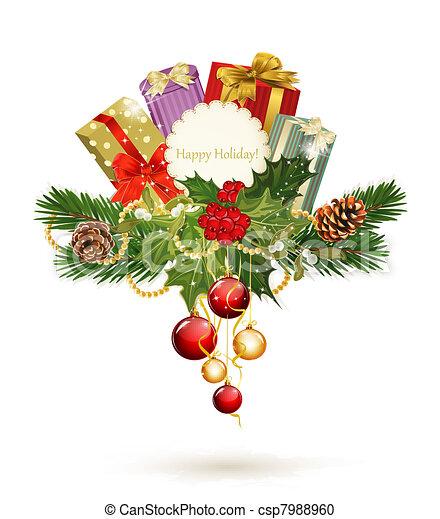 festive background tree,pine, cones - csp7988960