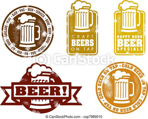 Vintage Style Beer Stamps - csp7989010