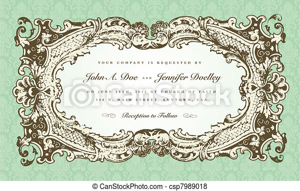 Vector Victorian Wedding Frame for Invitation - csp7989018