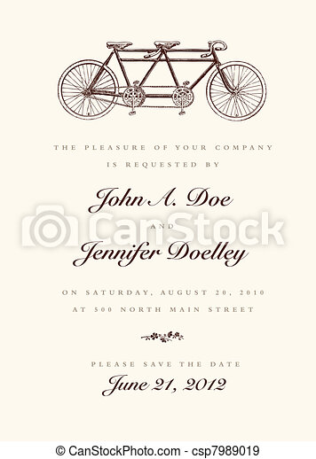 Vector Vector Vintage Bicycle Wedding Invitation