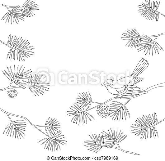 Titmouse on pine branch, contour. Vector - csp7989169