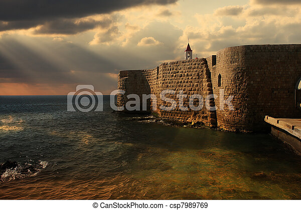 Ancient walls of Acre, Israel. - csp7989769