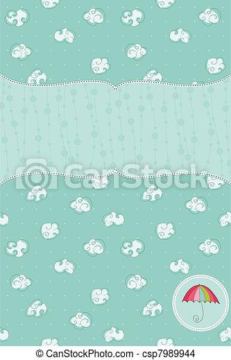 Autumn Cute Rainy Card with Birds and Autumn Sign in vector - csp7989944