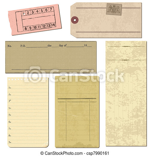 Set of Old paper objects - for design and scrapbook in vector - csp7990161