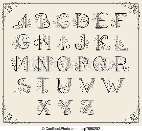 Formal Calligraphy Alphabet A thru Z Hand Lettered Cut File
