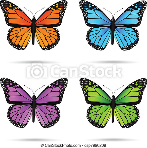 Multicolored butteflies - csp7990209