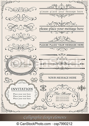 Calligraphic design elements and page decoration - csp7990212