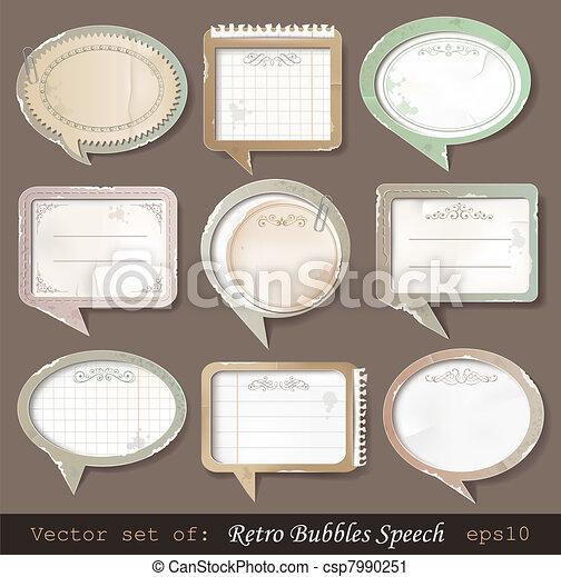 Retro paper bubbles speech - csp7990251