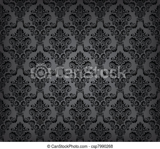 Black seamless wallpaper pattern - csp7990268