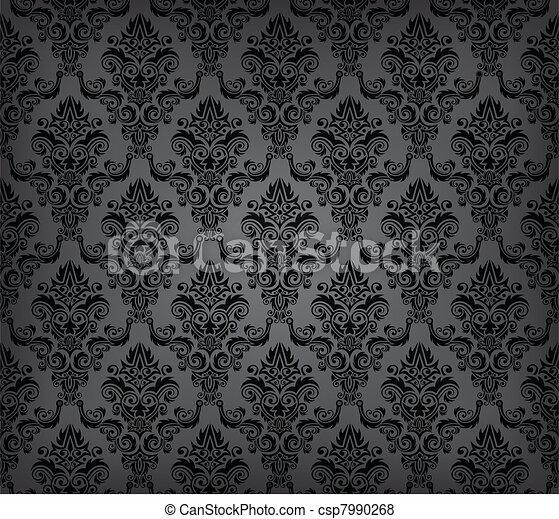 Black seamless wallpaper pattern - csp7990268