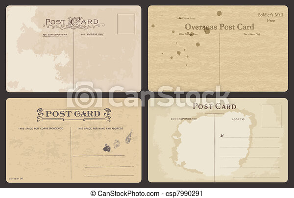 Set of Antique postcards in vector - csp7990291