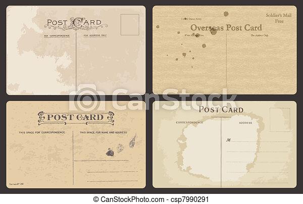 Set of Antique postcards in vector - csp7990291