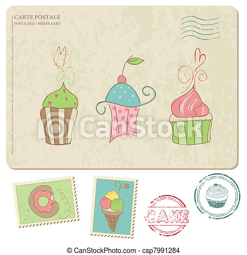 Set of cupcakes on old postcard, with stamps - for design and scrapbooking - csp7991284