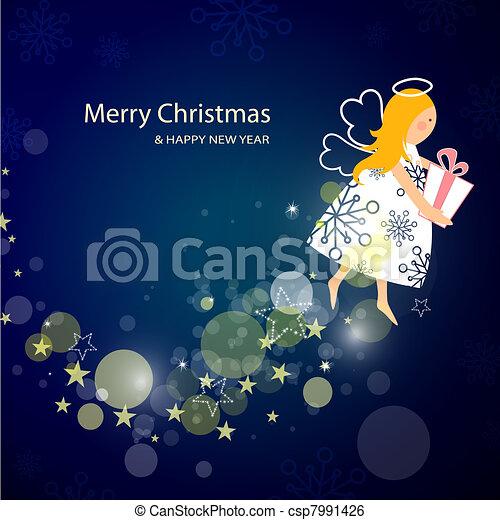 Clipart Vector of Little Christmas fairy - Cute Christmas fairy ...