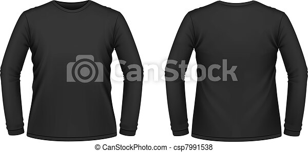 Black long-sleeved T-shirt  - csp7991538