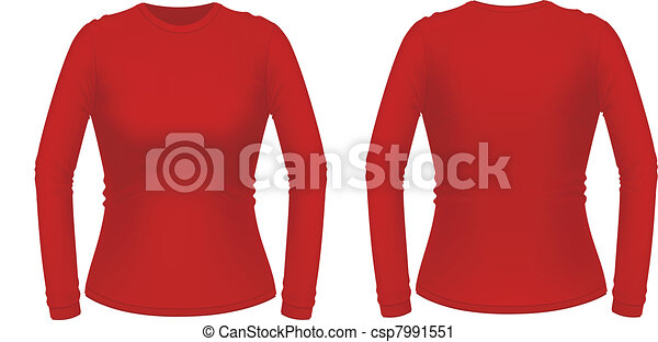 Red long sleeve female shirt - csp7991551