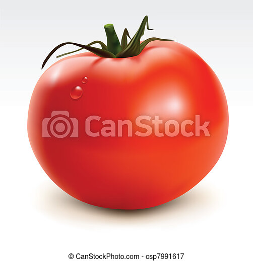 Red tomato with drops - csp7991617