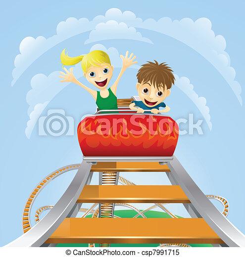 Thrilling roller coaster ride - csp7991715