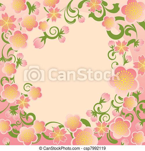 Cherry blossoms frame - csp7992119