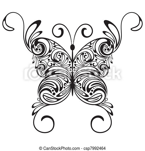 vector monochrome  tattoo butterfly - csp7992464