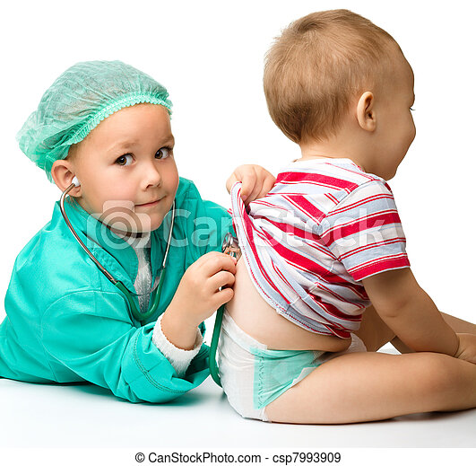Children are playing doctor with stethoscope - csp7993909