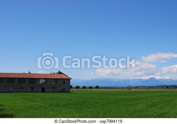 Farm and flat farmland - csp7994119
