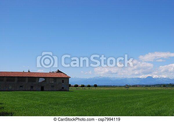 Farm and flat farmland - csp7994119