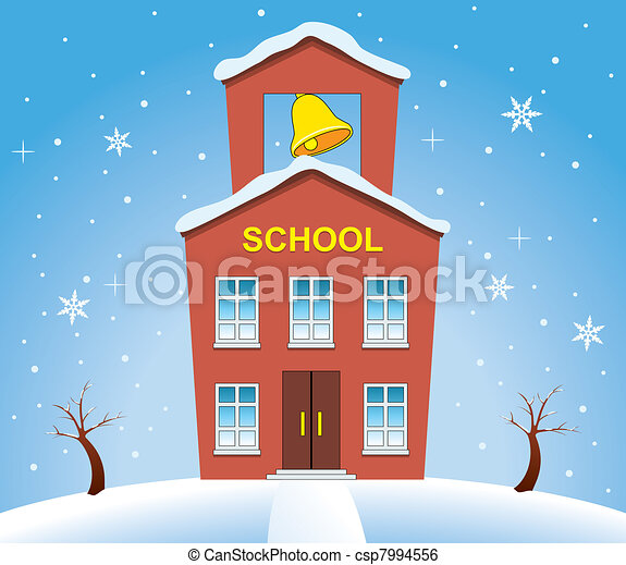 country school house in winter - csp7994556