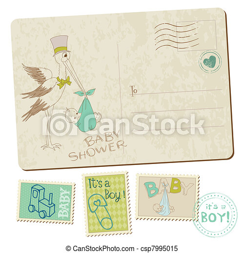 Vintage Baby Boy Shower or Arrival Postcard with stork in vector - csp7995015