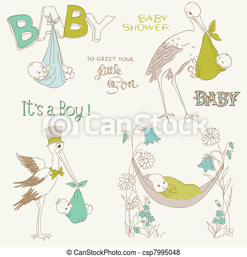 Vintage Baby Boy Shower and Arrival Doodles Set - design elements for scrapbook, invitation, cards - csp7995048