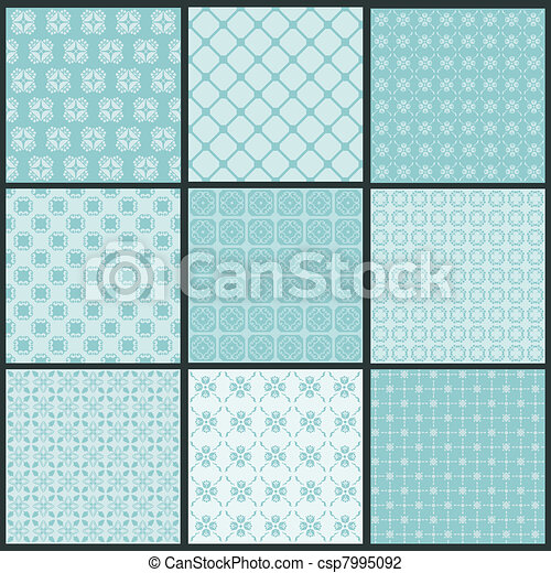 Seamless backgrounds Collection - Vintage Tile - csp7995092