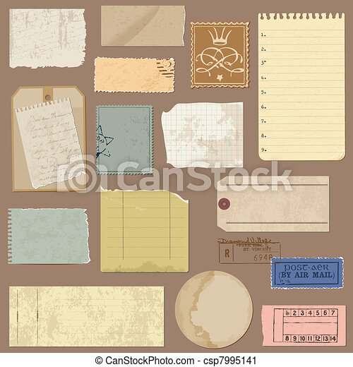 Set of Old paper objects - for design and scrapbook in vector - csp7995141