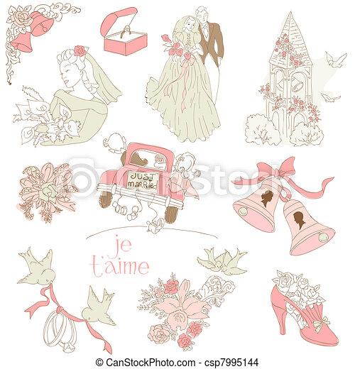 Vintage Wedding Design Elements - for Scrapbook, Invitation in vector - csp7995144